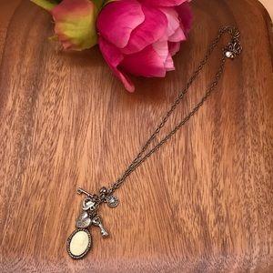 Metropark vintage style gold locket key necklace